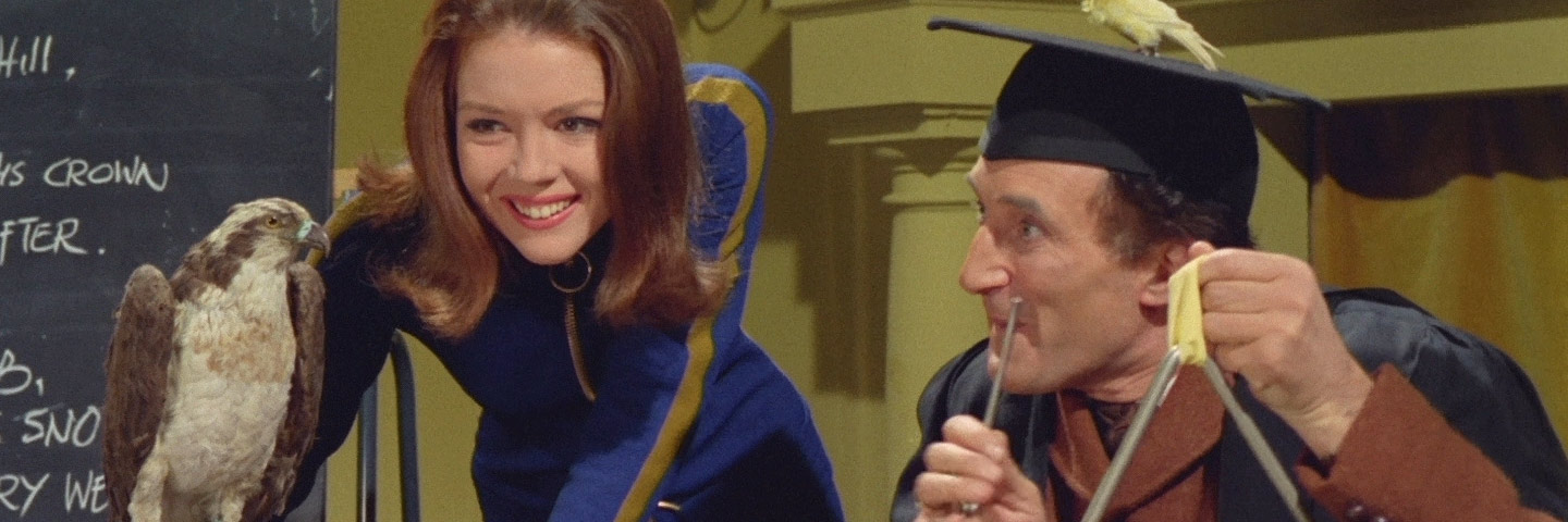 Diana Rigg as Emma Peel, with Ron Moody in The Avengers: 'The Bird Who Knew Too Much'