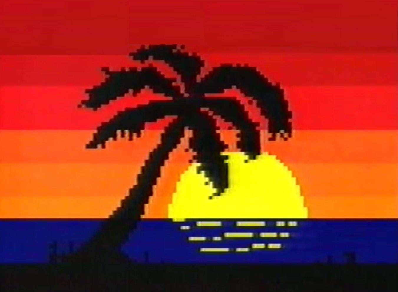 Palm tree via @Russty_Russ with enhanced teletext colour
